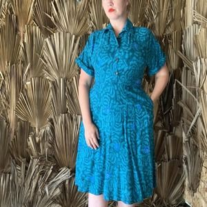 Vintage 80s Floral Fit and Flare Day Dress